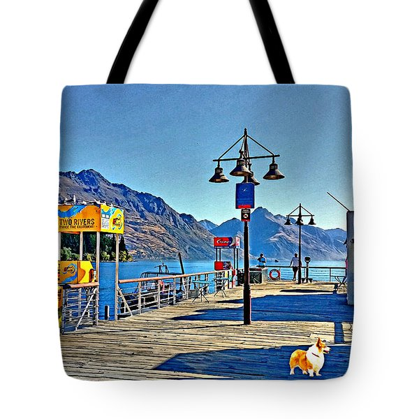 Tote Bag featuring the drawing Corgi At Queenstown New Zealand by Kathy Kelly