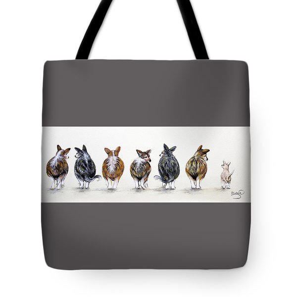 Corgi Butt Lineup With Chihuahua Tote Bag by Patricia Lintner