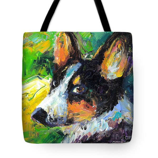 Corgi Dog Portrait Tote Bag