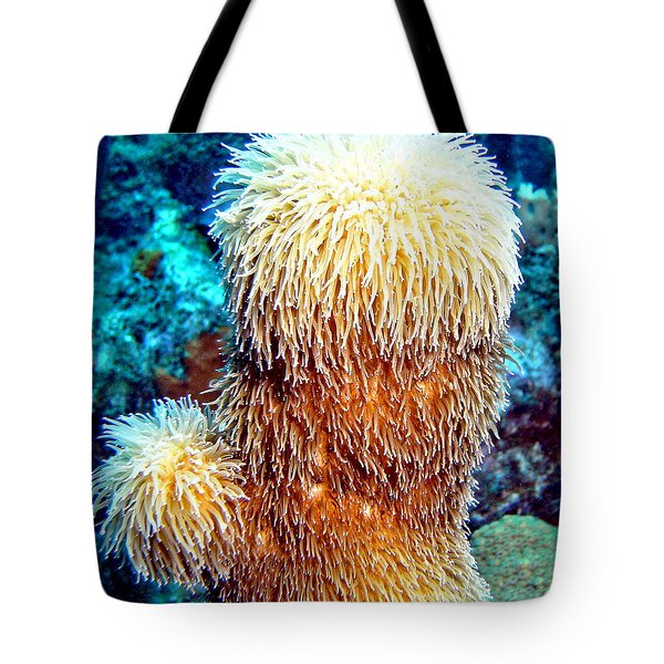 Tote Bag featuring the photograph Corky Sea Finger Coral - The Muppet Of The Deep by Amy McDaniel