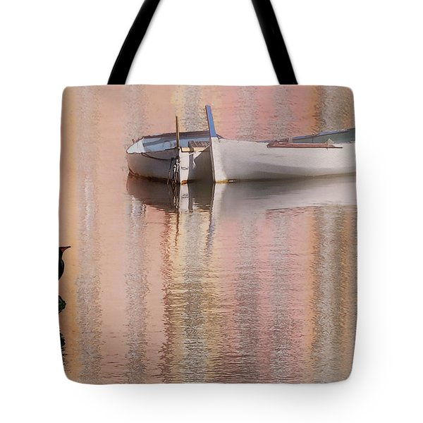 Tote Bag featuring the photograph Cormorant And Boats by Joe Bonita