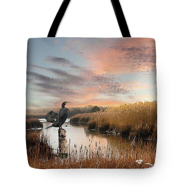Cormorant At Sunset Tote Bag