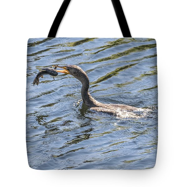 Cormorant Caught Fish Tote Bag