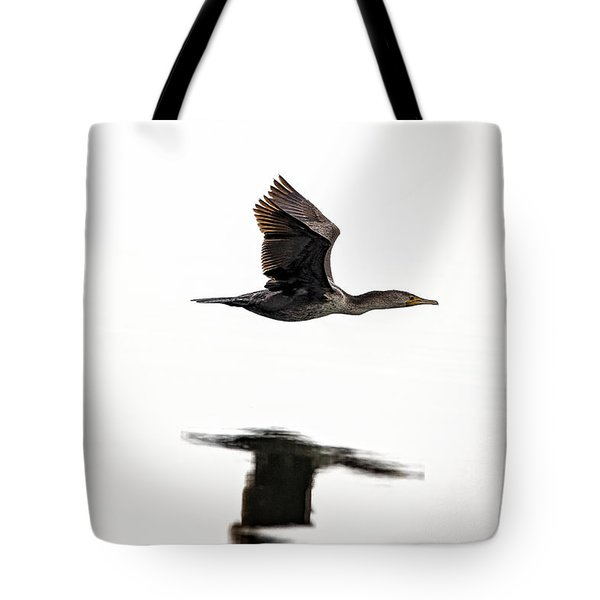 Cormorant In Flight Tote Bag by Michael White