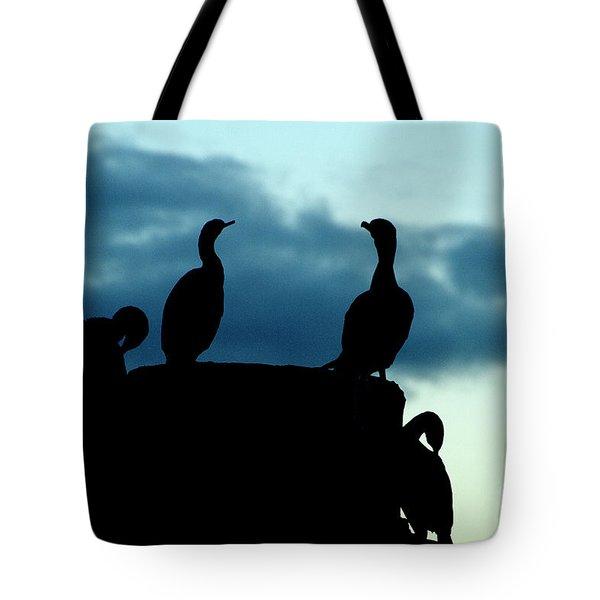 Cormorants In Silhouette Tote Bag by Victoria Harrington