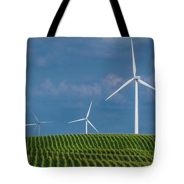 Corn Rows And Windmills Tote Bag