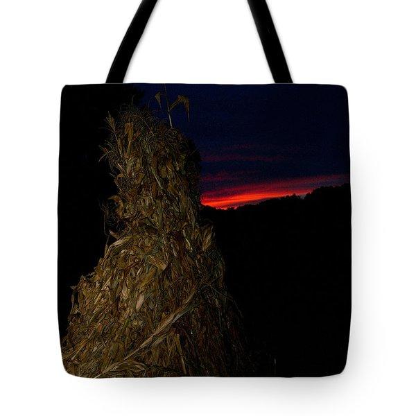 Corn Shock At Setting Sun Tote Bag