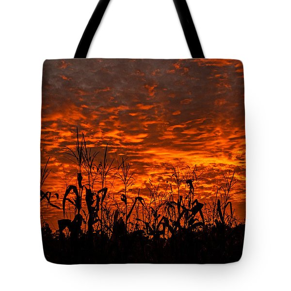 Corn Under A Fiery Sky Tote Bag