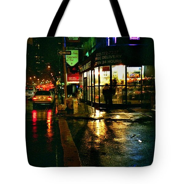 Tote Bag featuring the photograph Corner In The Rain by Miriam Danar