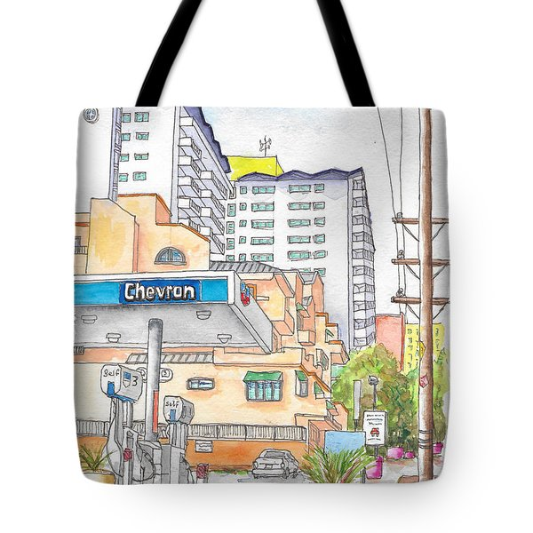 Corner La Cienega Blvd. And Hallway, Chevron Gas Station, West Hollywood, Ca Tote Bag