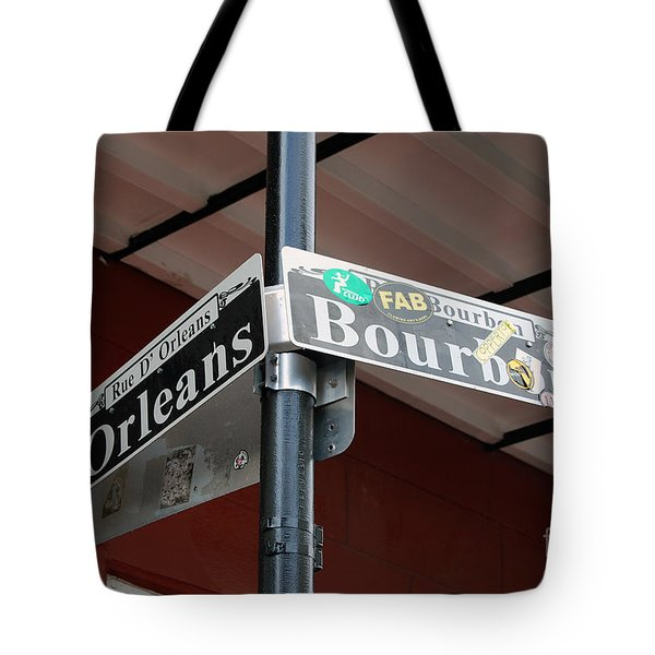 Corner Of Bourbon Street And Orleans Sign French Quarter New Orleans Tote Bag by Shawn O'Brien