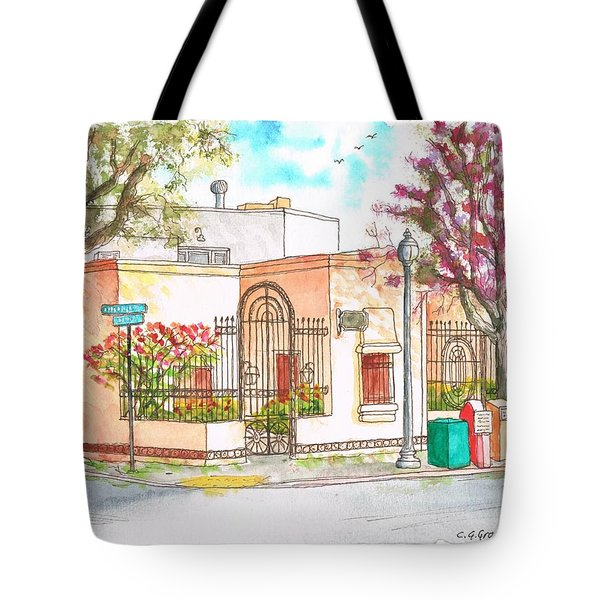 Corner With Bougainvillas In San Luis Obispo, California Tote Bag