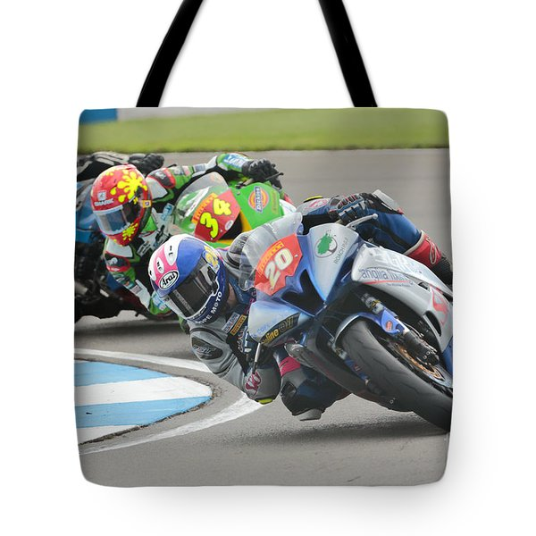 Cornering Motorcycle Racers Tote Bag by Peter Hatter