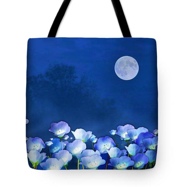 Cornflowers In The Moonlight Tote Bag
