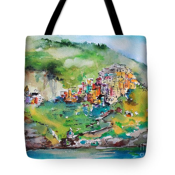 Tote Bag featuring the painting Corniglia Cinque Terre Italy by Ginette Callaway