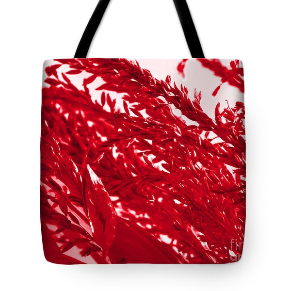 Tote Bag featuring the photograph Cornstalk In Red by Roxy Riou