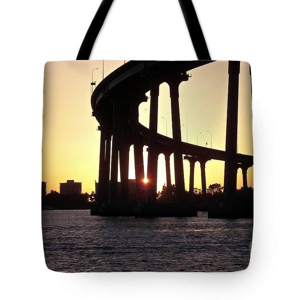Coronado Bridge Sunset Tote Bag by Carol  Bradley