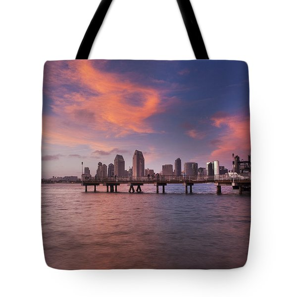 Coronado Ferry Landing Sunset Tote Bag by Scott Cunningham