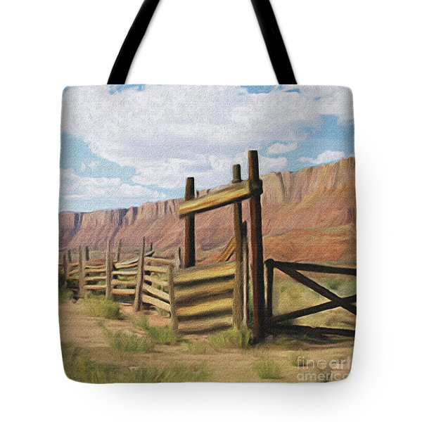 Corral Gate Tote Bag by Walter Colvin
