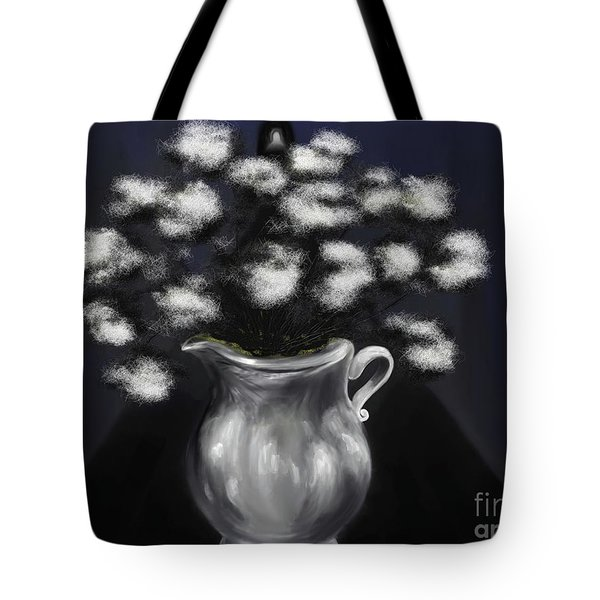 Corridors Of The Mind A Silver White Vase In A Blue Hallway Tote Bag
