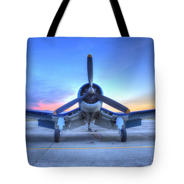 Tote Bag featuring the photograph Corsair F4u At The Hollister Air Show by John King