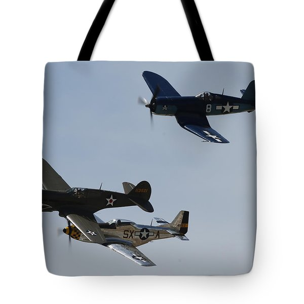 Corsair F4u P40 P51 Mustang Kimberly Kaye At The Hollister Air Show Tote Bag