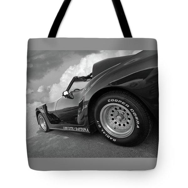 Corvette Daytona In Black And White Tote Bag by Gill Billington