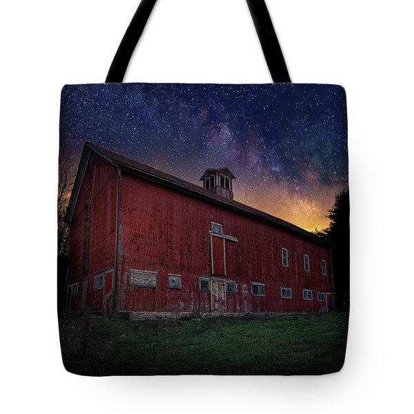 Tote Bag featuring the photograph Cosmic Barn Square by Bill Wakeley