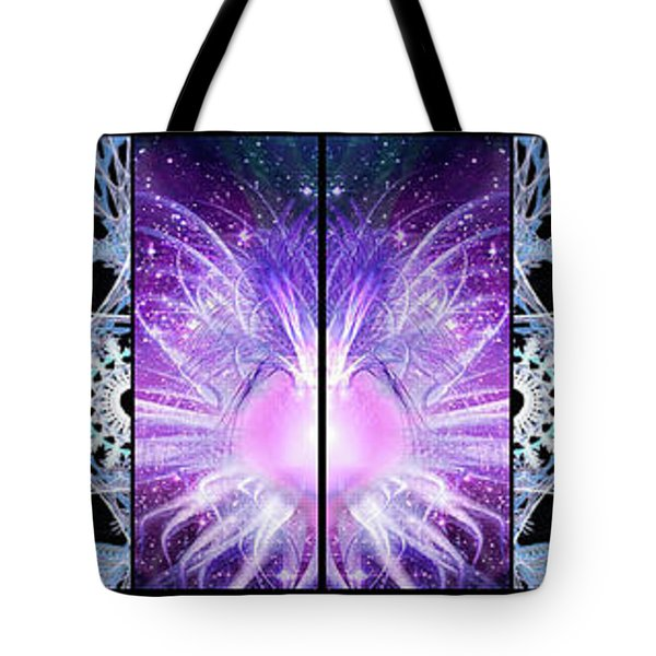 Tote Bag featuring the mixed media Cosmic Collage Mosaic Left Mirrored by Shawn Dall