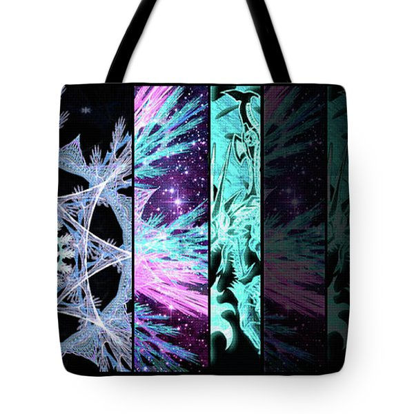 Tote Bag featuring the mixed media Cosmic Collage Mosaic Left Side Flipped by Shawn Dall
