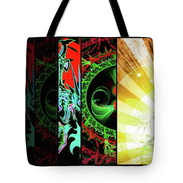 Tote Bag featuring the mixed media Cosmic Collage Mosaic Right Side Flipped by Shawn Dall