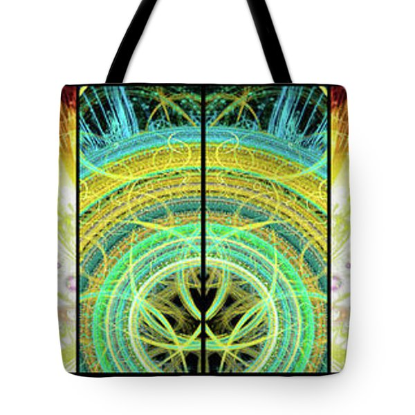 Tote Bag featuring the mixed media Cosmic Collage Mosaic Right Side Mirrored by Shawn Dall