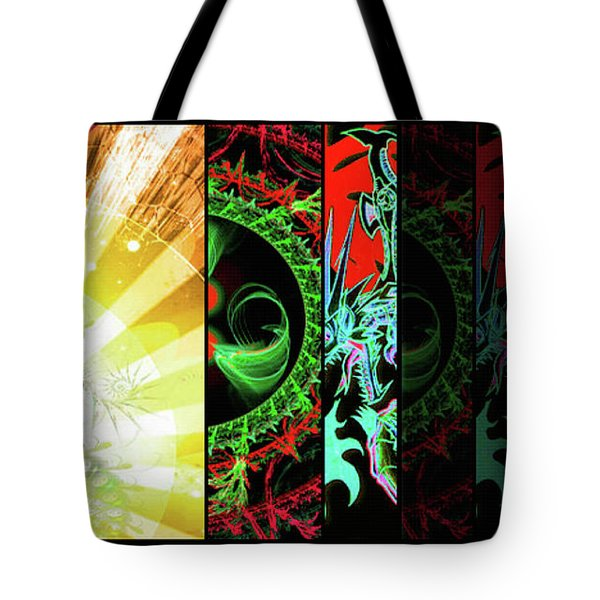 Tote Bag featuring the mixed media Cosmic Collage Mosaic Right Side by Shawn Dall