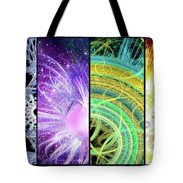 Tote Bag featuring the mixed media Cosmic Collage Mosaic by Shawn Dall