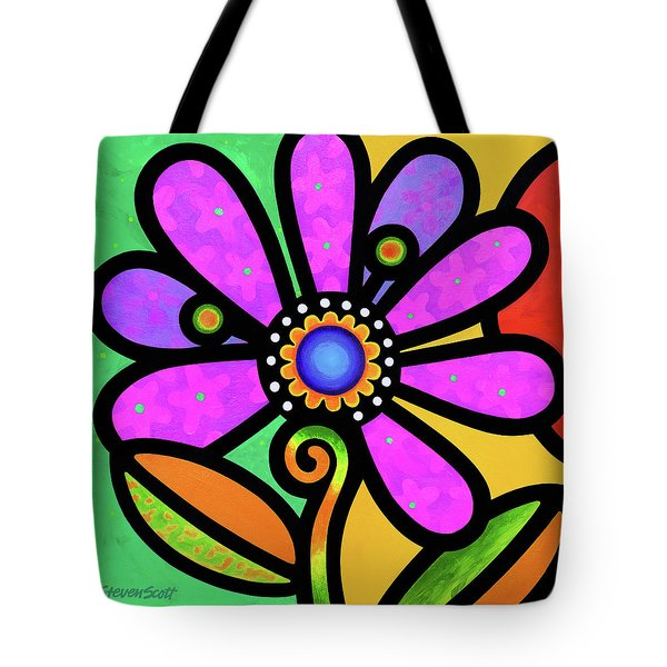 Cosmic Daisy In Pink Tote Bag