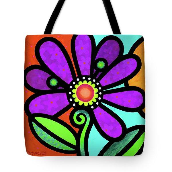 Cosmic Daisy In Purple Tote Bag