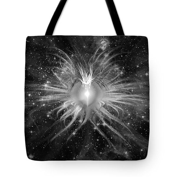 Cosmic Heart Of The Universe Bw Tote Bag