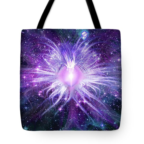 Tote Bag featuring the mixed media Cosmic Heart Of The Universe Mosaic by Shawn Dall