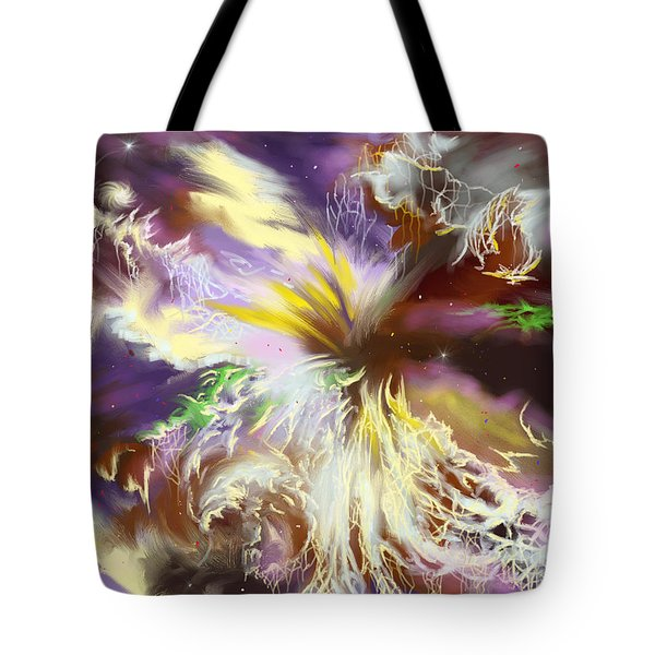 Tote Bag featuring the digital art The Flowering Of The Cosmos by Amyla Silverflame