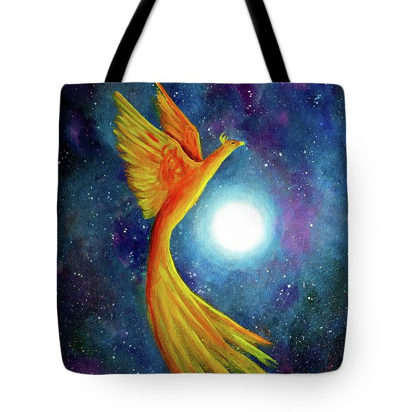 Cosmic Phoenix Rising Tote Bag by Laura Iverson