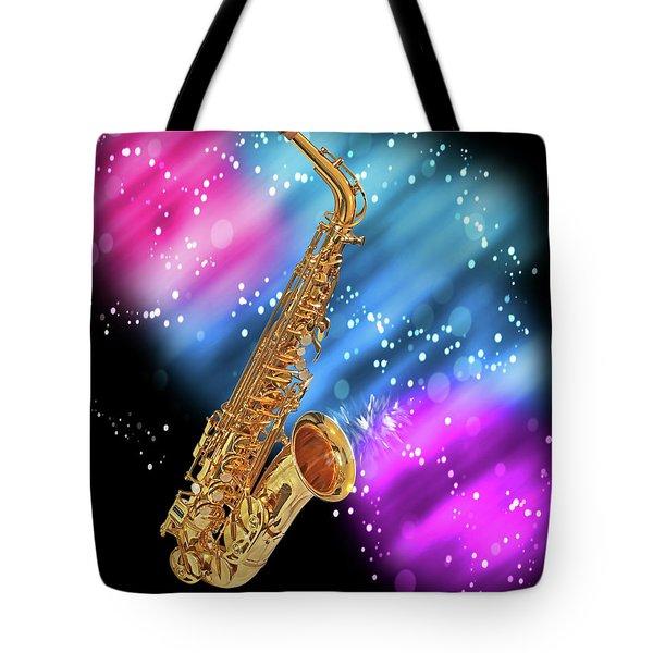 Cosmic Sax Tote Bag