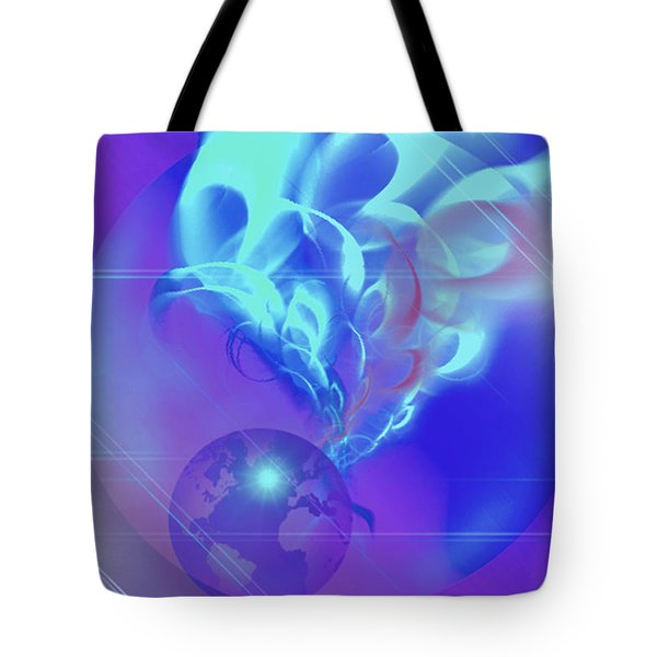 Tote Bag featuring the digital art Cosmic Wave by Ute Posegga-Rudel