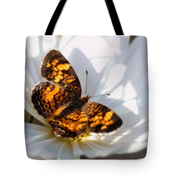 Pearl Crescent Butterfly On White Cosmo Flower Tote Bag