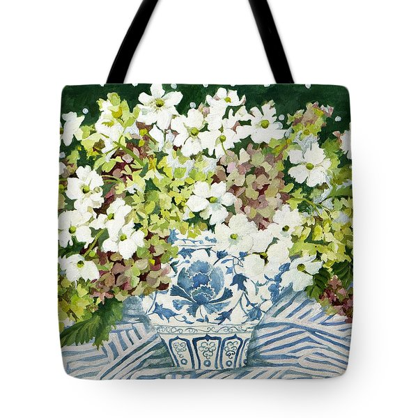 Cosmos And Hydrangeas In A Chinese Vase Tote Bag
