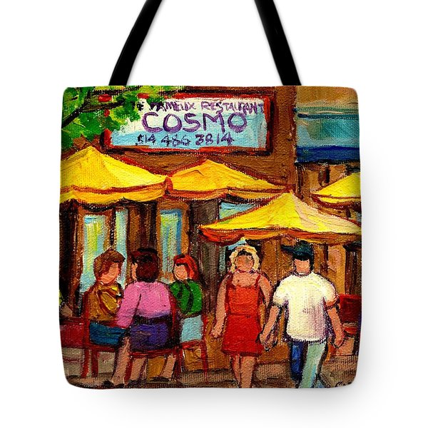 Cosmos  Fameux Restaurant On Sherbrooke Tote Bag by Carole Spandau