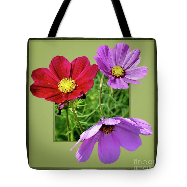 Cosmos Flower Peeking Out Tote Bag