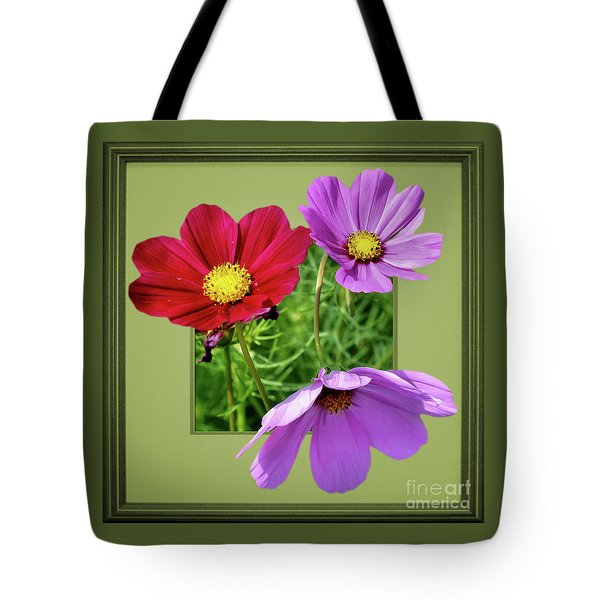 Cosmos Flower Peeking Out Tote Bag