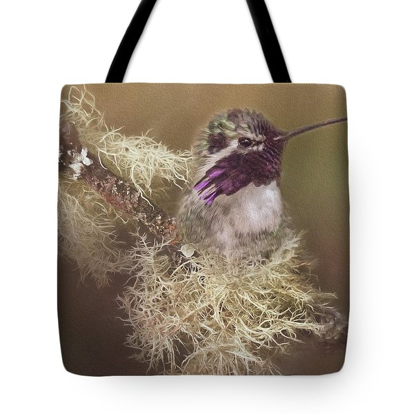 Tote Bag featuring the photograph Costas Hummingbird Painted by Teresa Wilson
