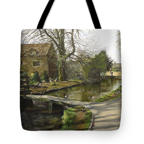 Tote Bag featuring the painting Cotswolds Scene. by Harry Robertson