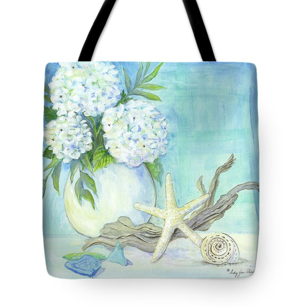 Cottage At The Shore 1 White Hydrangea Bouquet W Driftwood Starfish Sea Glass And Seashell Tote Bag